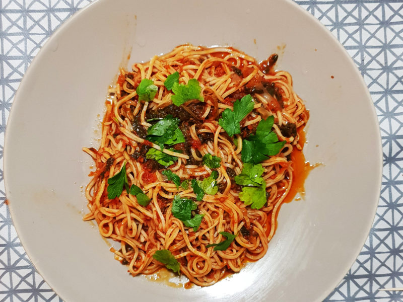 Noodles cu spanac